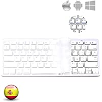 YZPUSI Bluetooth 3.0 Inalámbrico Wireless Teclado, Ultra Slim y Ligero Teclado Compatible with Samsung Tablet, Smartphone, Portable Teclado with Cubierta Pare i Pad, Android and Windows System