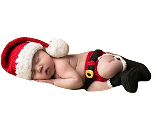 Happy Cherry Neugeborenes Baby Weihnachtsmann Figur Foto Kostüm Fotografie Prop Handarbeit Bekleidungsset Fotoshooting Stricken Tiere Kostüm Baby Junge Trikot Foto Outfits Requisiten Für 0-1 Monate (Für Kinder Weihnachtsmann-kostüm)