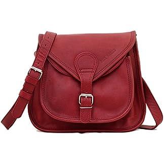 PAUL MARIUS LA BESACE Rojo Oscuro Bolso pequeño bandolera de cuero para la ciudad Vintage & Retro