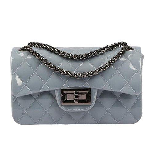 BYD Damen Mini PU Leder Gesteppt Handtasche Schultertaschen Ketten Tasche mit Steppmuster und Kettenhenkel Maedchen Blau Und Grau