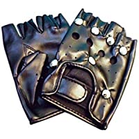 Ladies Party Gloves Punk Black Studded for Fancy Dress Accessory