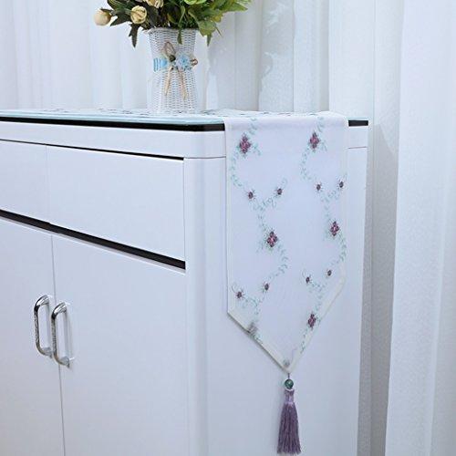 QiangZi Table Runner Romantique Blanc Net Fil Accueil Restaurant Usage Quotidien Table Tissu Floral Napperon Brodé, 30 * 280CM ( Couleur : White2 , taille : 30*250cm )