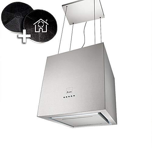 Design-Dunstabzugshaube, Inselhaube (40cm, Edelstahl, leise, 4 Stufen, LED-Beleuchtung, Seilbefestigung, Randabsaugung) ART406-ED - KKT KOLBE