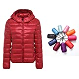Packable Down Jacket Women Hooded Ultra Lightweight Short Winter Jacket with Carry-on Bag