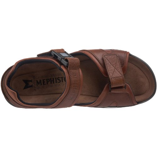 Mephisto Mens Shark Fit Leather Sandals Braun