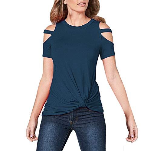 Yvelands Damen T-Shirt Tops beiläufiges trägerloses O-Ansatz festes kurzes Hülsen Knoten ()