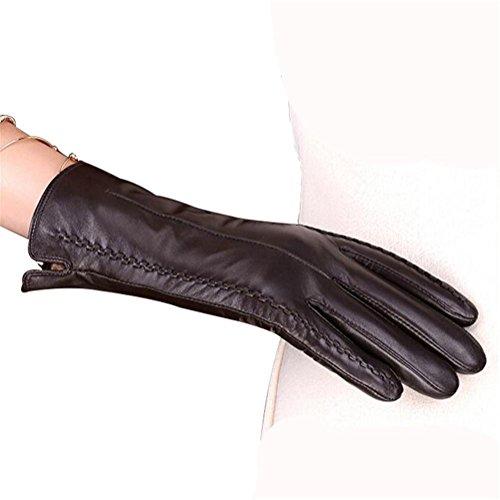 SHOU qiulv PU Leder Damen Handschuh Winter Schafspelz Plus Kaschmir Samt Wärmen Tasten Fäustlinge Dame Lammfell Original Haar Manschetten Leder Handschuhe, ()