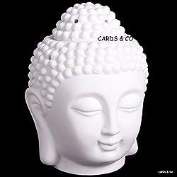 Tailandés blanco cabeza de Buda Quemador de aceite ornamento Feng Shui Aromaterapia lámpara de cerámica