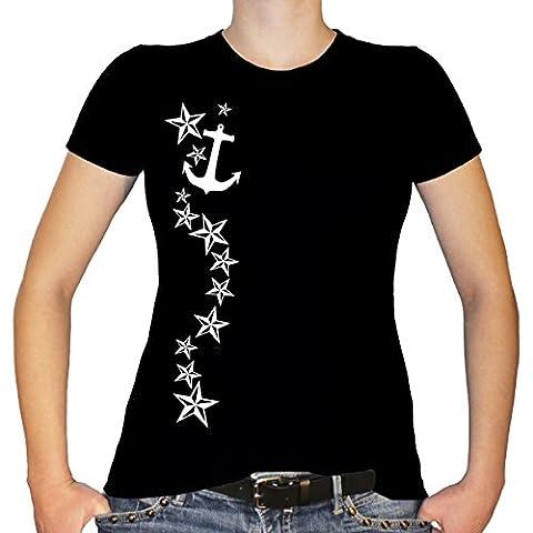 Shirtfun24 Damen STERNRANKE Anker Sterne Fun T-Shirt, schwarz, XXL