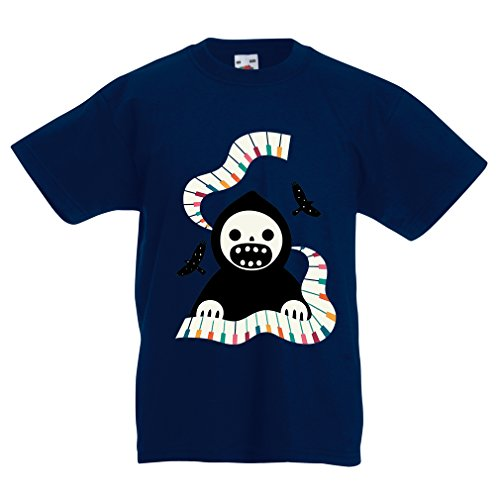 Kinder T-Shirt Halloween Horror Nights - The Death is Playing on Piano - cool Scarry Design (3-4 Years Dunkelblau Mehrfarben) (Songs Für 2019 Halloween)