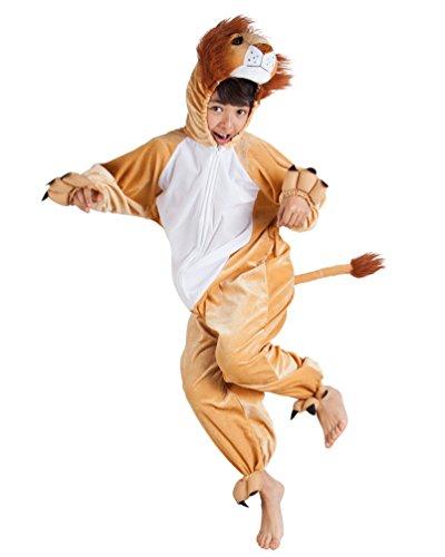 Karneval-Klamotten Löwe-n Kostüm Kinder aus Plüsch Löwe-Overall Karneval Tier-Kostüm Kinder-Kostüm Größe 140 (Plüsch Overall Kostüm)