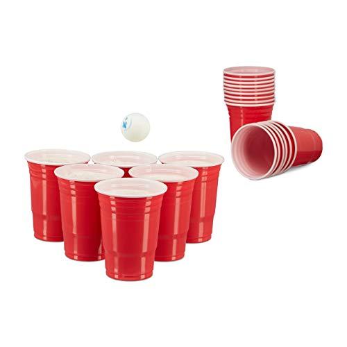 Relaxdays 200 x Beer Pong Becher, Stabiler Plastikbecher, Partybecher 16 oz/ 473 ml, Trinkbecher Softdrinks u. Bier, rot - Bier-cup