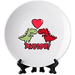 Dino Love 6'' Placa blanca. White Plate| Premium Ceramics-Personalized Dish| Print On Your Plate For Truly Unique Meal Times| Stylish Kitchenware By Hamerson