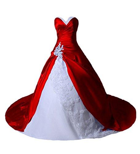 O.D.W Damen Spitze Lange Gotisch Hochzeitskleider Mehrfarbig Vintage Brautkleider(Weisse+Rot, 42)