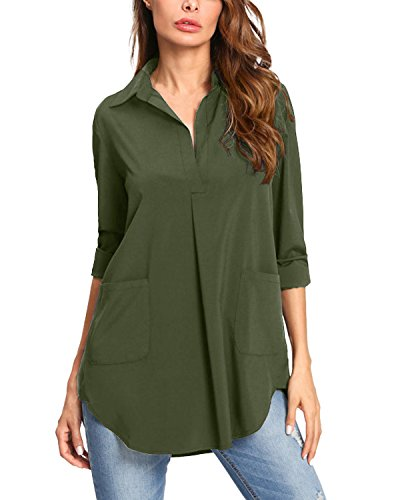 Kidsform Women Button Down Shirts Long Sleeve V Neck Collared Vertical Solid Causal Work Shirt Office Blouse Tops