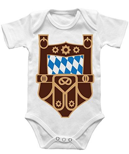 --Oktoberfest - Lederhosen Tracht Kostüm -- Babybody Weiss, Größe 0/3 Monate