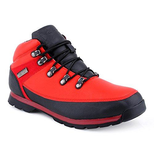 Herren Outdoor Schnür Boots Wander Stiefel Stiefeletten Mehrfarbig Worker Schuhe Rot/Schwarz