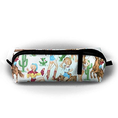 Wild West Cowgirl Student Federmappe mit Reißverschluss Kosmetiktasche Tasche klein Münzfach?, für Kinder Teenager und anderen Schulbedarf (Cowgirl West Wild)
