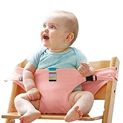 The Washable Portable Travel High Chair Booster Baby Seat with Straps Toddler Safety Harness Baby Feeding The Strap (Blue) #BZY (Pink)