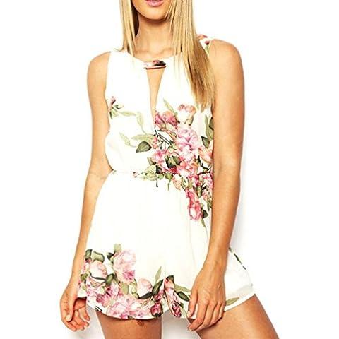 Combishort Femme Ete Kolylong Femmes d'été imprimé floral sans manches en mousseline de soie Backless Jumpsuit Pantalon court (S-Buste:33,1