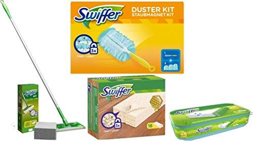 Swiffer Limited Edition Starterpack + 18 Holz- und Parkett Tücher + 12er Feuchte Bodentücher