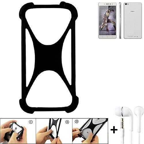 K-S-Trade Handyhülle für Hisense L671 Schutzhülle Bumper Silikon Schutz Hülle Cover Case Silikoncase Silikonbumper TPU Softcase Smartphone, schwarz (1x), Headphones