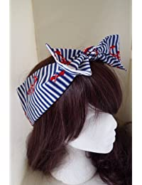 50s Vtg Red Anchor And Stripe Bow Head Scarf