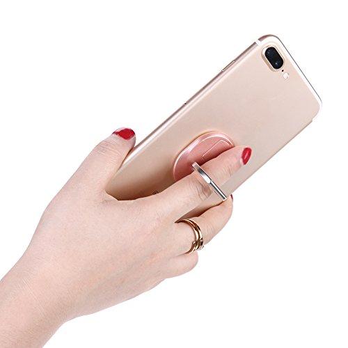 Soporte de Anillo del Teléfono Demiawaking Sostenedor del Soporte del Teléfono del Anillo del Dedo de 360 Grados para el Teléfono Elegante (Oro Rosa)