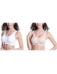 63d97647e4 Ritu-Creation Women s Air Sports Padded Seamless Stretchable Bra with  Removable Soft Cups (White