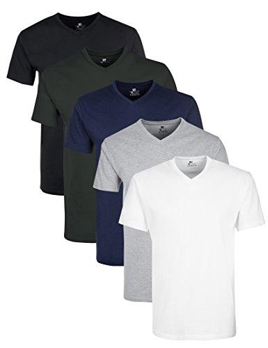 Lower East Herren T-Shirt mit V-Ausschnitt, 5er Pack, Mehrfarbig (Weiß/Schwarz/Grau/Blau/Grün), XX-Large