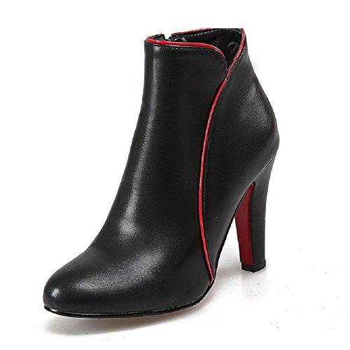 AllhqFashion Damen PU Gemischte Farbe Reißverschluss Mittler Absatz Stiefel, Schwarz, 42
