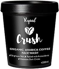 Ryaal Crush - 100% Organic Arabica Coffee Facewash Cleanser - SLS & Paraben Free - Skin Brightening and Tightening (200ML)