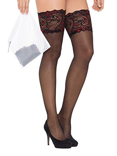 Halterlose Strümpfe mit luxuriöser Spitze von KISS ME / Italienische Spitzen-Qualität für echte Damen / Sexy Stockings zum Verführen mit oder ohne Strapse/ Farbe Schwarz mit etwas Rot / Größe S/M