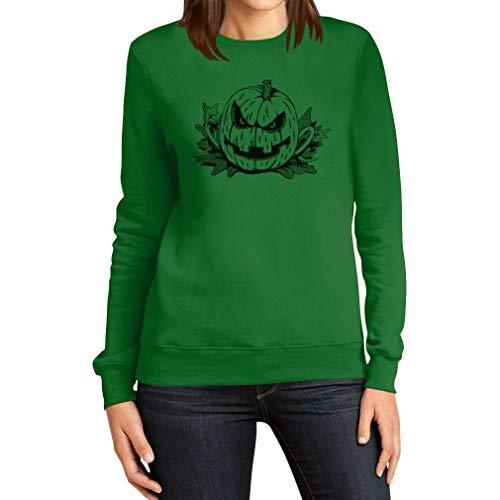 Böses Gruseliges Halloween Kostüm Jack O' Lantern Frauen Sweatshirt X-Large ()