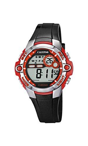 Calypso watches Calypso watches – Reloj digital de cuarzo para niño con correa de plástico, color negro