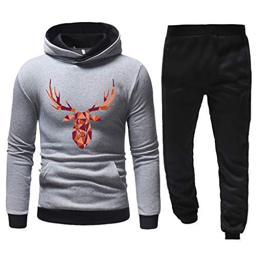 Xuthuly Weihnachten Sport Kostüm Men Fashion Classic Xmas Print Sweatshirt + Bequeme Hose Plus Velvet Sport Suit