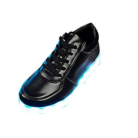Ularma LED Chaussures USB De charge S'allument Glow Chaussures Mode Chaussures de sport Clignotant Lumineuse (42, noir)
