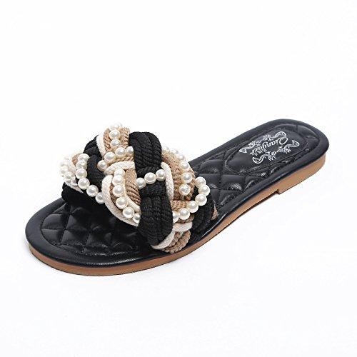 ZYUSHIZ Le premier champ Cool pantoufles de paille de l'Ouest Mme Fond plat Sandales Pantoufles 36