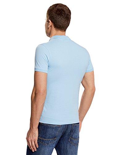 oodji Ultra Herren Pique-Poloshirt Basic Blau (7000N) ...