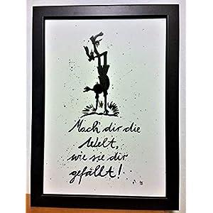 """""""Mach dir die Welt."""" Bild, Poster, Dekoration, Original, handgemaltes Aquarell, schwarz-weiß, hygge, Din A4, Geschenkidee, Pippi Langstrumpf, MIT Rahmen"""