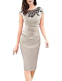 f292fb7e603f Donna Vestiti Tubino al Ginocchio Eleganti da Cerimonia Estivi Vestito da  Sera Maniche Corte Ricamo Fiori Vintage Matita Abito da…