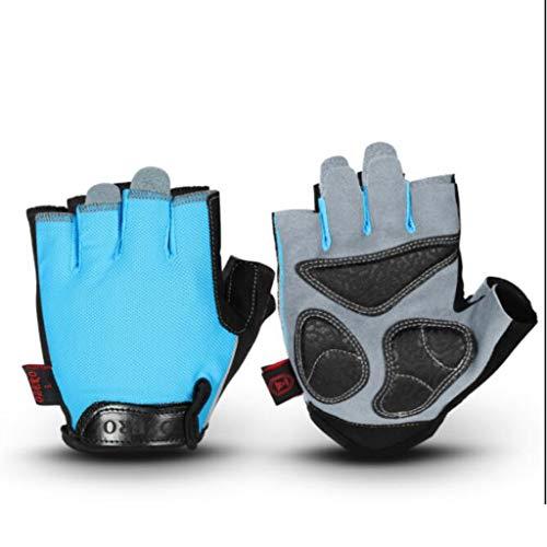 Mitten Halbfinger-Reithandschuhe, Straßen-Cross-Country-Handschuhe, Sportspeicher, Verschleißfeste Atmungsaktive Feuchtigkeitsaufnahme Kansa (Color : Blue, Size : S)