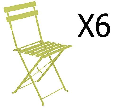 PEGANE Lot de 6 chaises Pliantes en Acier Coloris Granny - Dim: 42 x 47 x 81 cm