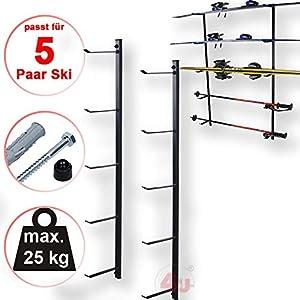 4U® Skihalter Set Skiträger Skistöcke Ski Aufbewahrung Wandhalter Halter für 5 Paar Gerätehalter Wandmontage Skiaufbewahrung