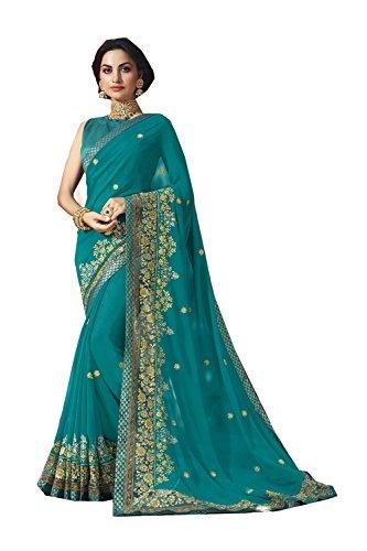 Teal Saree (Indian Sarees for Women Wedding Designer Party Wear Traditional Teal Saree.)