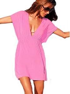 """Y-BOA - Sexy Robe de plage/ Paréo -""""Reine Bikini""""- Femme/Fille- Col en V – Soie glace–Eté – Décolleté Soirée - Taille unique(Buste 90~120CM) (Rose)"""