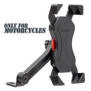 Anti vibración Soporte de Bicicleta Soporte Para Teléfono Celular Universal Prevención de Caídas Manillar de la Bicicleta Soporte Para Teléfono Móvil Abrazadera de la Horquilla Con Rotación 360 Para 3,5 a 6,3 pulgadas GPS para Teléfonos Inteligentes Otros Dispositivos (Motocicleta)