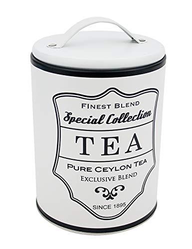 Impressionata Deko Vorratsdose Tea aus Metall weiß Schwarz, 16 x 11 cm, Nostalgie Metalldose...