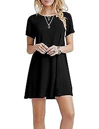 YOUCHAN Kleid Damen Sommerkleid Freizeitkleid Shirtkleid T-Shirt Bluse Tunika Kurzarm Leger Langes Locker Kleider