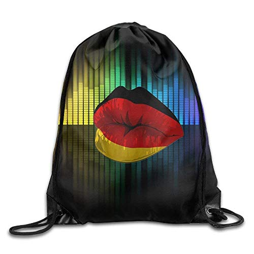 National Flag Decoration Large Drawstring Sport Backpack Sack Bag Sackpack The Lips of The German Flag 2 (German Flag Bag)